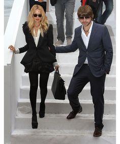 Rachel Zoe and husband at Paris Fashion Week