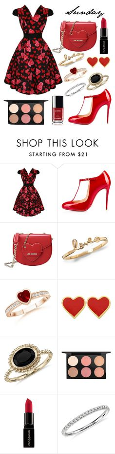 """""""OOTD - Sunday, February 14th"""" by musicpandas on Polyvore featuring Christian Louboutin, Love Moschino, Blue Nile, MAC Cosmetics, Smashbox, Chanel, women's clothing, women, female and woman"""