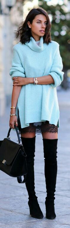 Chic In The City - Thigh high boots, oversized jumper & lace