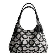 Coach Madison Op Art Signature Shantung Maggie Bag Black/Grey