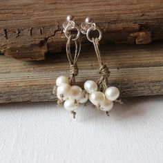 Freshwater pearl earrings / sterling silver wedding by Nellique