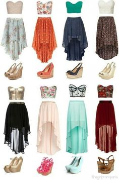 I would wear all this stuff but with tank tops in coordinating colors. All those shoes are to DIE for.