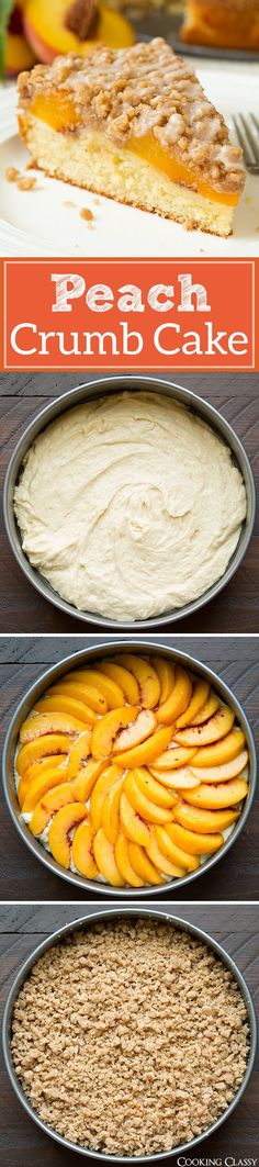 Peach Crumb Cake - tender buttermilk cake, fresh peaches, plenty of cinnamon spiced crumbs and a sweet vanilla glaze. Simple Cake for holiday Baking Recipes, Cake Recipes, Dessert Recipes, Peach Coffee Cakes, Peach Cake, Vanilla Glaze, Food Cakes, Yummy Cakes, Just Desserts
