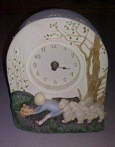 Vintage 80s Charpente Winnie The Pooh 3D Christopher Robbins Rabbits Clock Resin