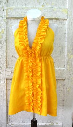 1b947cd75bda Sunny yellow Linen Ruffle Halter Dress in from by bayousalvage