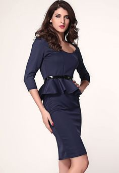 Robes Peplum Bleu Fonce A Manches Longues Belted Midi Robe – Modebuy.com