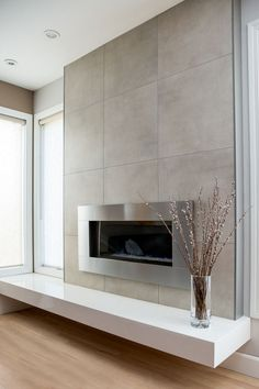 Tiled Fireplace Wall, Fireplace Feature Wall, Floating Fireplace, Living Room Decor Fireplace, Fireplace Tile Surround, Linear Fireplace, Brick Fireplace Makeover, Fireplace Hearth, Home Fireplace