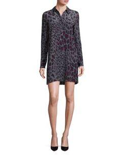 EQUIPMENT Clean Lucida Long Sleeve Cheetah Print Shirt Dress. #equipment #cloth #dress