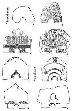 Figure 22. Sauna stones. A. Sardoura; B. Eiras (Arcos de Valdevez); C. Eiras (Vila Nova de Famalicão); D. Briteiros 1; E. Sanfins; F. Britei...