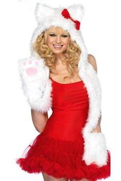 Fell-Mütze mit Handschuh-Schal SWEET KITTY Kostüm für Straßenkarneval