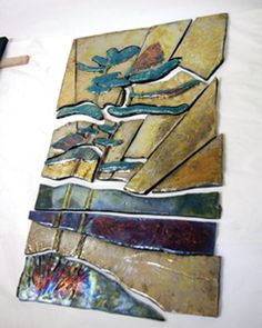 Raku Mural and instructions on how to make it.  By Barbara Van Sickle.