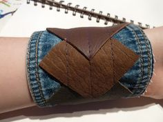 denim and leather bangle