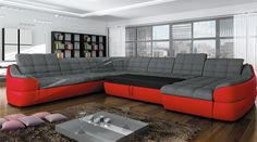 ALVARO XL is a practical living room sofa and everybody will appreciate it's functionality.This model can be used as a sofa or a bed and also has a spacious storage container. We guarantee high quality and careful execution with attention to every detail.  -U-shaped -available in many colors or possibility to personalize your own composition of material -sleeping area 47 x 90.5 in -storage 59 x 32.5 x 9 in -movable headboards -made in Europe  DIMENSIONS:  Length: 153.5 in Width: 122 in…