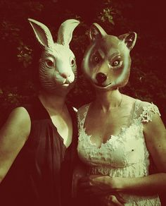 Rabbit and Fox Hare Pictures, Weird Pictures, Creepy Photography, Dark Photography, Animal Masks, Animal Heads, Rabbit Life, Bunny Mask, Creepy Photos