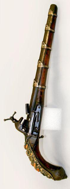 Beautiful Turkish Flintlock Pistol, on display at the University of Nebraska State Museum.