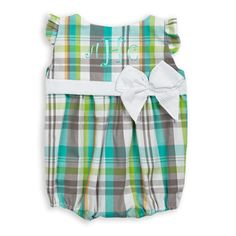 Baby Girl Teal Plaid White Seersucker Bubble – Lolly Wolly Doodle