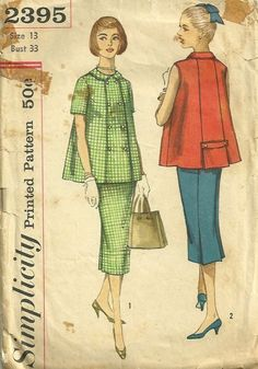 Simplicity 2395 1950s  Maternity Top and Skirt Pattern Womens Vintage Sewing Pattern by patterngate.com