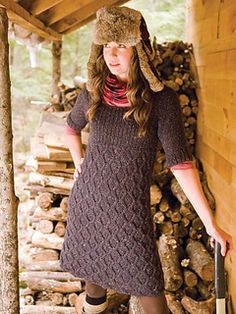 Noyaux is a warm and easy to wear dress with a ribbed bodice and flattering U-neckline. The lace stitch on the bottom is a logical one, easy and fun to knit.