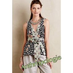 Anthropologie HD in Paris Blouse Beautiful floral Anthropologie HD in Paris floral sleeveless blouse with wrap around tie is flattering to any figure and can be worn anywhere! Such flexibility from one 100% silk blouse! Machine wash cold even! Anthropologie Tops Blouses