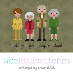 Oh. My. God. YES! Golden Girls cross stitch pattern by Wee Little Stitches. $5.00.