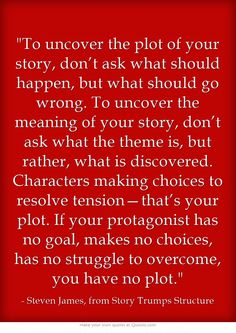 To uncover the plot of your story. . .