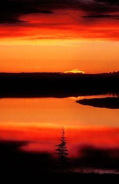 Sunset on Whitefish Lake in the Norhwest Territories
