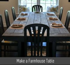 Wondering how do you make a Farmhouse Table on the Cheap? We took told old tables and DIYed them into a huge, modern-meets-rustic farmhouse table. Even if you've never done any Furniture building, this will be easy enough for you! Dining Room Table, A Table, Rustic Table, Deck Table, Large Table, Picnic Table, Table Bases, Dinner Table, Dining Area