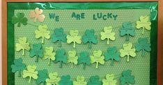Looking for a quick and easy March bulletin board? Here it is :) Copy shamrocks on two different colored green construction paper, grab some...
