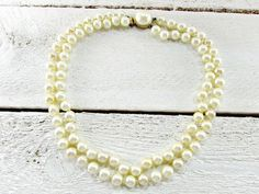 Vintage Pearl Choker Necklace, Hand-Knotted Ivory Glass Pearl Necklace, Double Multi-Strand Necklace, 1950s Wedding Bridal Costume Jewelry by RedGarnetVintage