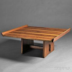 "George Nakashima, Milkhouse Table, American walnut, rosewood.  New Hope, Pennsylvania.  Rectangular top with a single rosewood butterfly joint at center, two lipped edges, lower cross-strecther with pegged tenon, 17"" H. x 38.25"" W. x 34"" D."