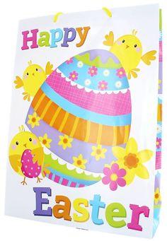 "Extra Large Easter Gift Bag - White Chicks & Floral Easter Eggs 18"" x 13"" x 4"" | eBay"