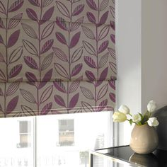Jaquard Leaf Roman Blind Plum | Luxury Made to Measure Blinds | UK Delivery