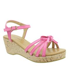 Another great find on #zulily! Pink Patent Bow Cloe Wedge Sandal #zulilyfinds