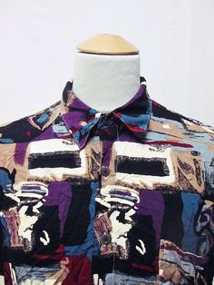 Vintage 90s Geometric Party Shapes Indie Mens Crazy Pattern Shirt Large