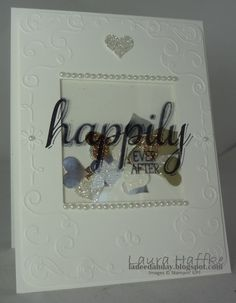 Stamp Set:  Big News - Ink:  Stazon Black -  Card Stock:  Whisper White, Gold & Silver Glimmer, Gold & Silver, Dazzling Diamonds, Window Sheet - And More:  Pearls, Filigree Embossing Folder, Framelit Squares, Corner Rounder, Small Heart Punch