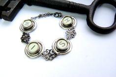 Typewriter Key Bracelet  Steampunk Style Silver by JustWearThese, $25.00
