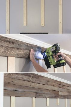 How to build a pallet accent wall in an afternoon. Includes tips on safe pallets… How to build a pallet accent wall in an afternoon. Includes tips on safe pallets to use, and building wire pathways for mounting a TV. Pallet Accent Wall, Pallet Walls, Pallet Wall Bathroom, Pallet Wall Decor, Wooden Wall Bedroom, Pallet Fireplace, Bathroom Accent Wall, Pallet Couch, Pallet Shelves