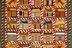 Houses and Pine Trees Quilt, unknown artist, American, 1890s. Cotton. Denver Art Museum Neusteter Textile Collection: Gift of Guido Goldman.