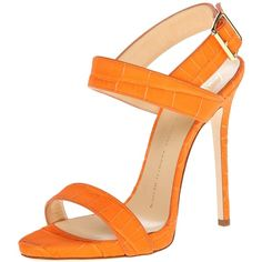 Giuseppe Zanotti Women's E50150 Dress Sandal ($305) ❤ liked on Polyvore featuring shoes, sandals, heels, crocodile shoes, ankle strap heel sandals, heeled sandals, toe-strap sandals and ankle wrap sandals