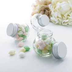 Celebrate It™ Occasions™ Round Glass Favor Jar with Silver Lid, 20 for $19.99