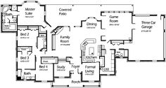 1 story house plan with family room, formal living room, and game room.  House Plans by Korel Home Designs
