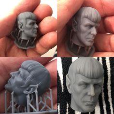 printed with form lab 2 & resin grey Spock, Zbrush, Garden Sculpture, Sculpting, 3d Printing, Lab, Resin, Artwork, Prints