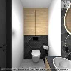 Koncepcja wc dla gości z przewagą betonu i czerni Bathroom Cladding, Toilet, Dom, Facebook, Instagram, Design, Atelier, Flush Toilet