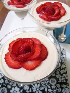 yogurt and strawberry roses...