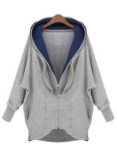 Laconic Hooded Collar Long Sleeve Grey hoodie