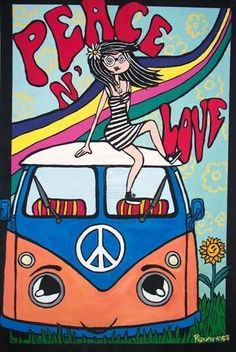 American Hippie Psychedelic Art ~ Peace Sign .