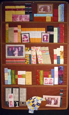 bookshelf family photos quilt