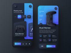 Playstation 5 DualSense -  Neumorphic mobile app dark version by Dawid Tomczyk