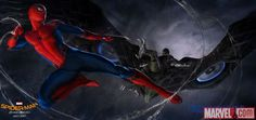 Spidey faces the Vulture in Spider-Man: Homecoming concept art by Ryan Meinerding