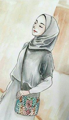 Cartoon Sketches, Art Sketches, Girl Cartoon, Cartoon Art, Hijab Drawing, Anime Muslim, Hijab Cartoon, Cool Art Projects, Girl Sketch